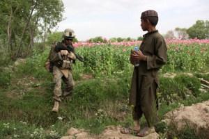Troops guarding opium